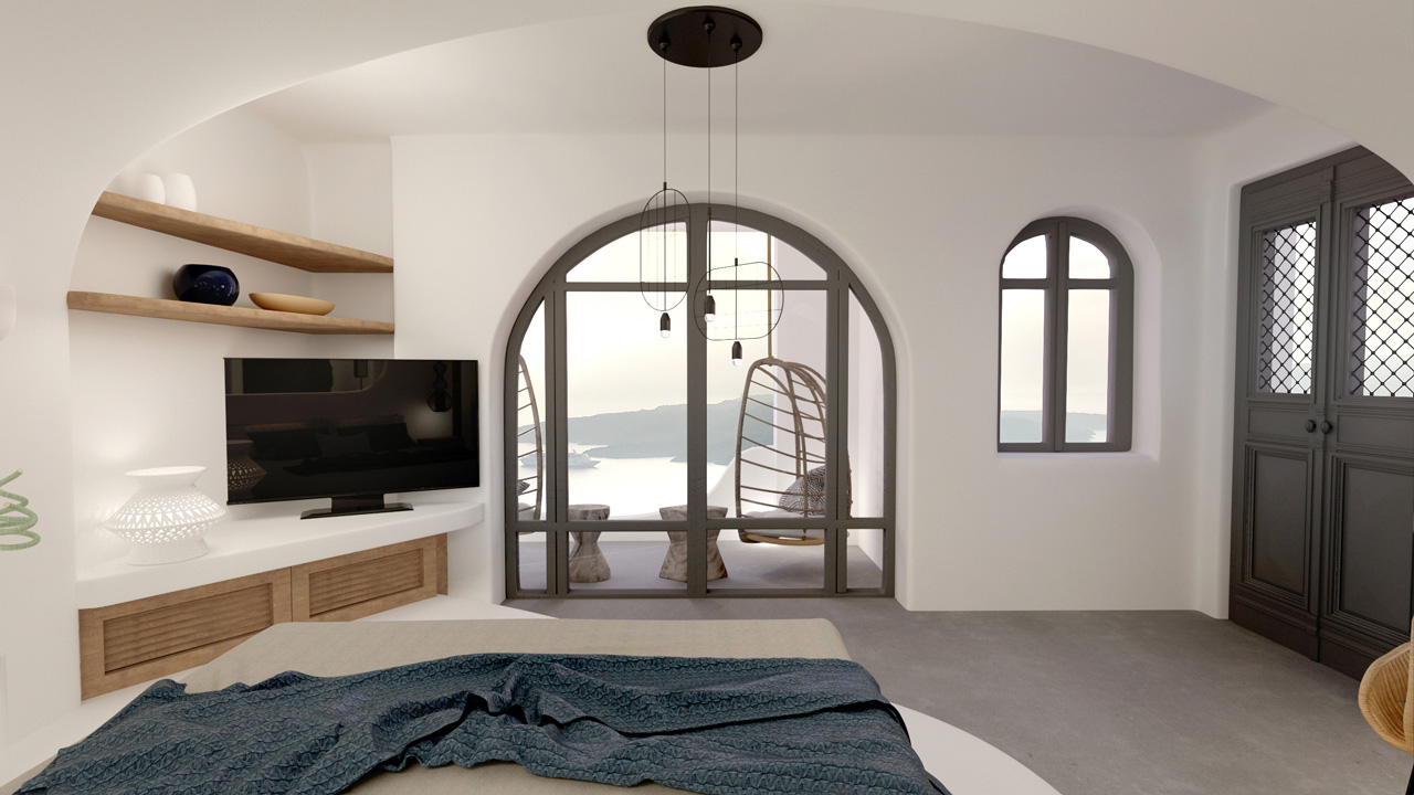 Cave suite in Caldera, Fira